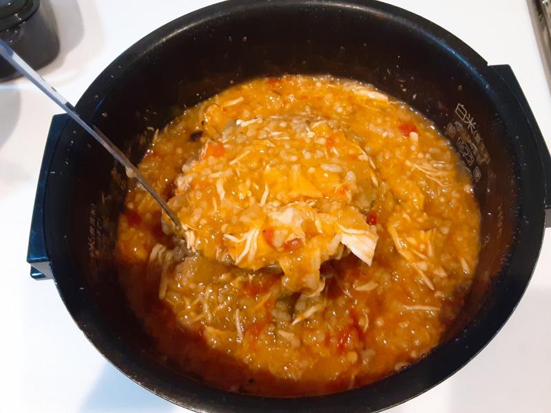 5合炊きの炊飯器で減量食「マグマ」を作りました。出来上がり